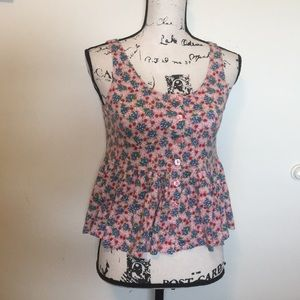 Betsey Johnson Pink Floral Tank Top Small
